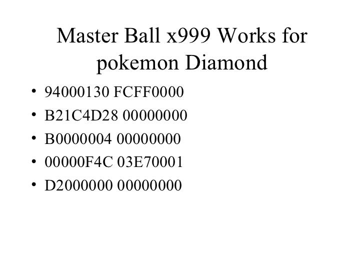 <b>Pokemon Diamond Action Replay Codes</b>