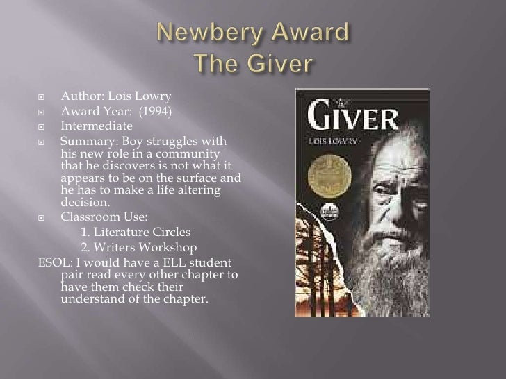 the giver book report Lowry narrates the giver in third person (he said, as opposed to i said, which is called first person), using a limited omniscient viewpoint (only jonas' th.