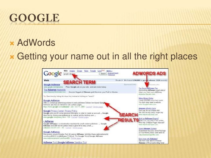 Google<br />AdWords<br />Getting your name out in all the right places<br />