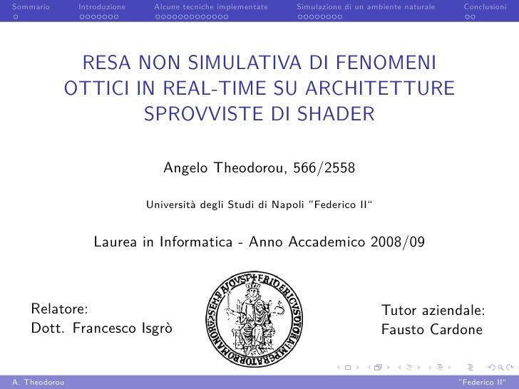 Sommario       Introduzione    Alcune tecniche implementate   Simulazione di un ambiente naturale    Conclusioni          ...