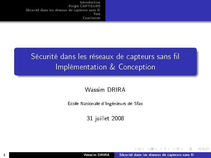 Introduction                               Projet CAPTEURS     Sécurité dans les réseaux de capteurs sans l               ...
