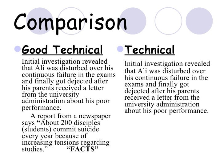 Qualities of good technical writing along with comparison