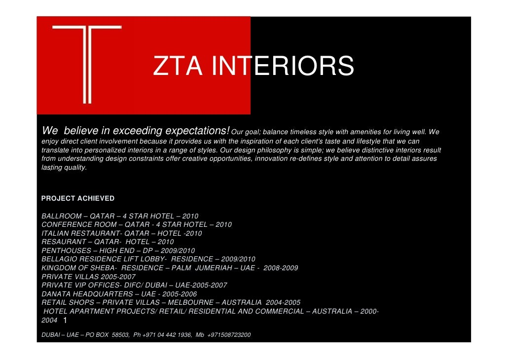 ZTA INTERIORS  We believe in exceeding expectations! Our goal; balance timeless style with amenities for living well. We e...