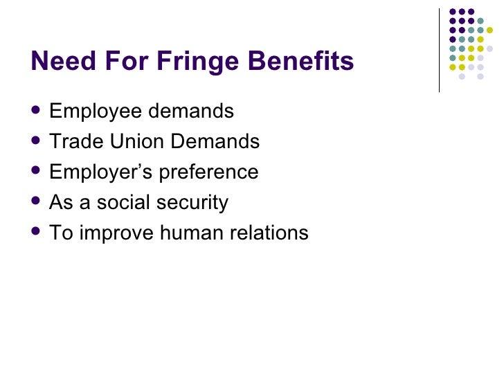 different types of fringe benefits