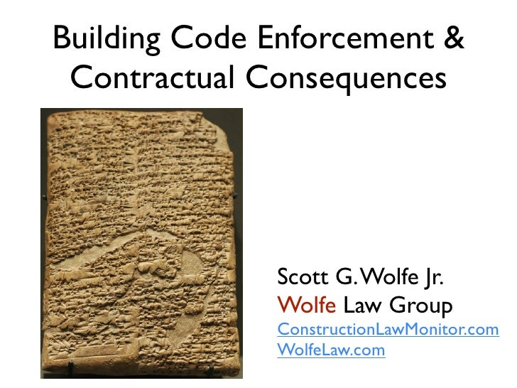 Building Code Enforcement and Contractual Consequences