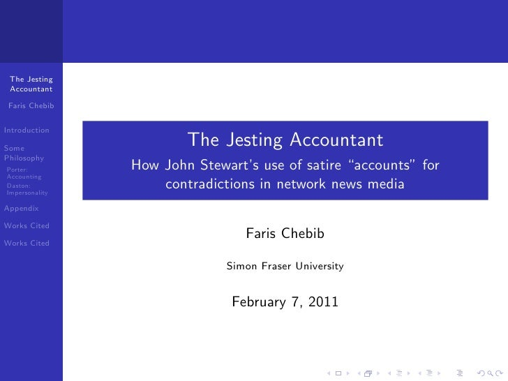 The Jesting Accountant Faris ChebibIntroductionSome                        The Jesting AccountantPhilosophyPorter:        ...