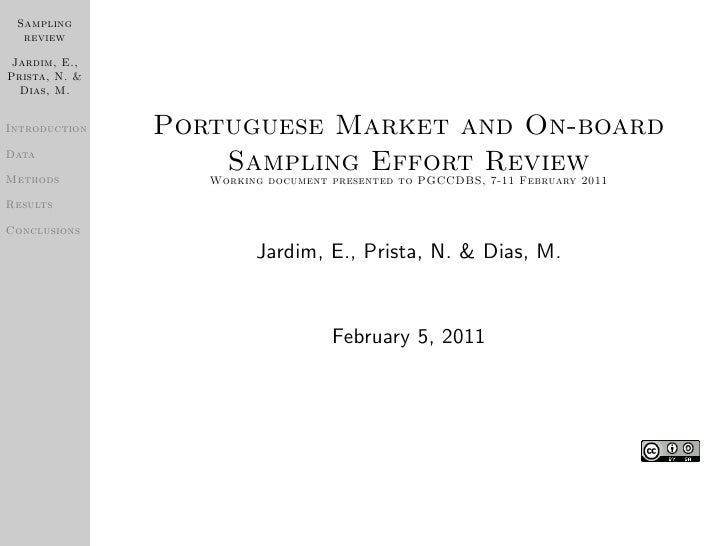 Sampling  review Jardim, E.,Prista, N. &  Dias, M.Introduction   Portuguese Market and On-boardDataMethods                ...