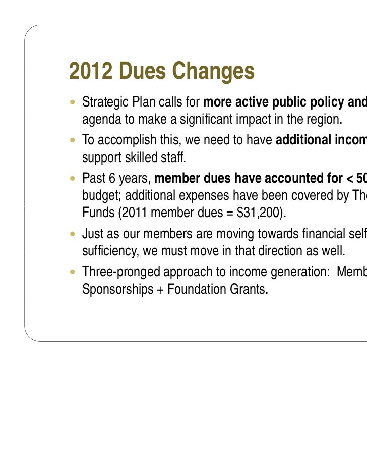 2012 Dues Changes Strategic Plan calls for more active public policy and advocacy    agenda t make a significant impact i...