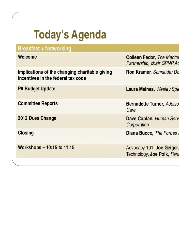 Today's AgendaBreakfast + NetworkingWelcomeW l                                              Colleen F d Th Mentoring      ...