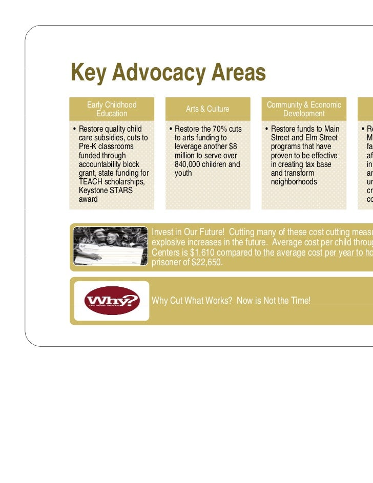 Key Advocacy Areas    Early Childhood                                          Community & Economic                       ...