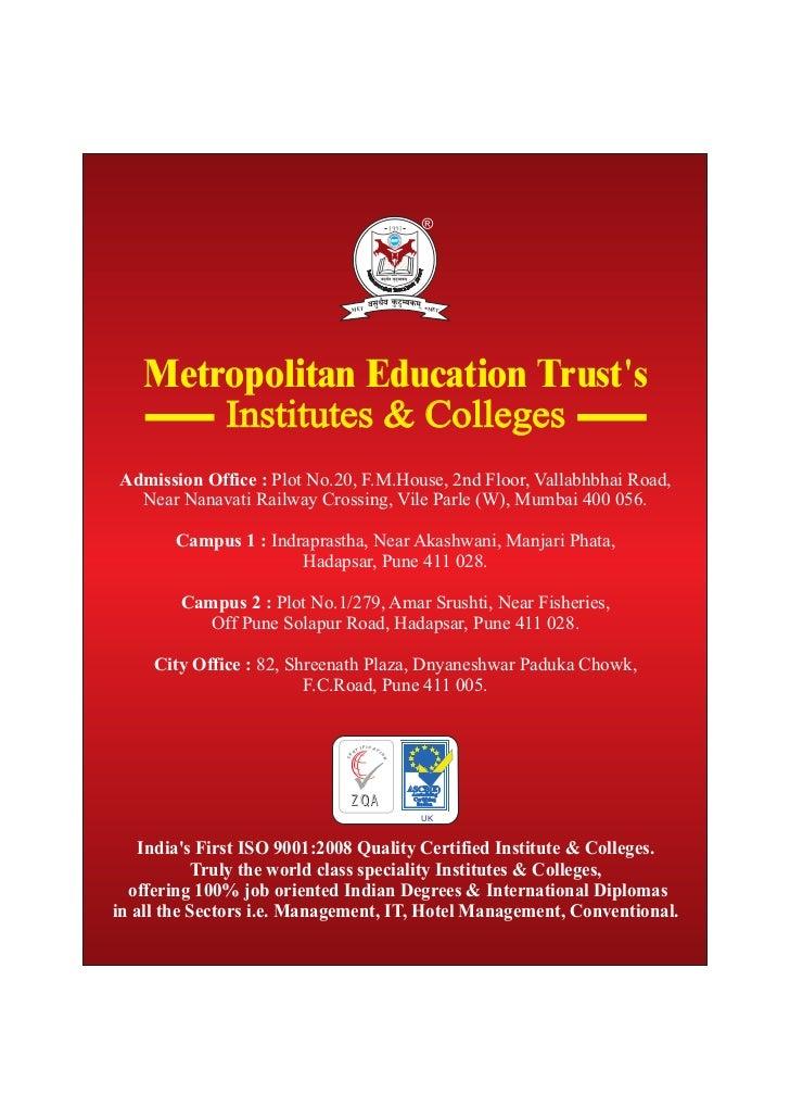 MET                                MET   Metropolitan Education Trusts       Institutes & CollegesAdmission Office : Plot ...
