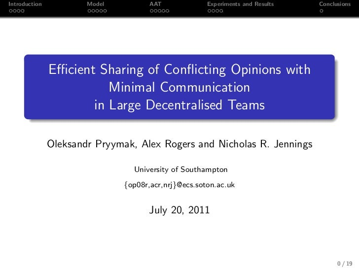 Introduction           Model          AAT             Experiments and Results   Conclusions               Efficient Sharing ...