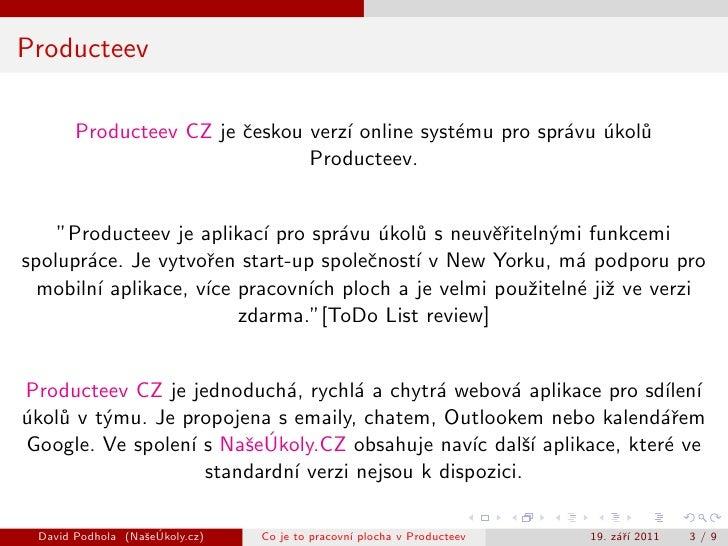 Co je to pracovní plocha v Producteev Slide 3