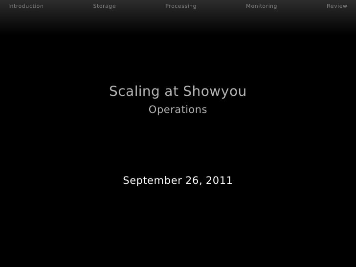 Introduction   Storage         Processing     Monitoring   Review                   Scaling at Showyou                    ...