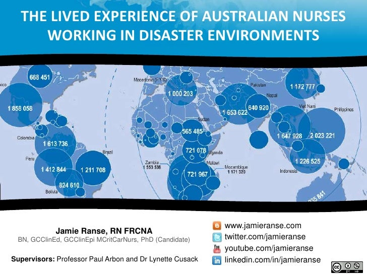 The lived experience of Australian nurses working in disaster environments <br />www.jamieranse.com<br />Jamie Ranse, RN F...