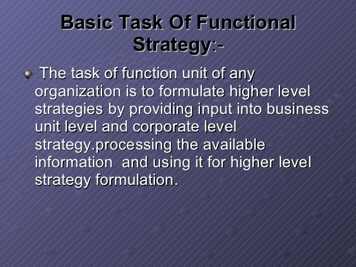 report on business level strategy Hierarchical levels of strategy strategy can be formulated on three different levels: corporate level business unit level functional or departmental.