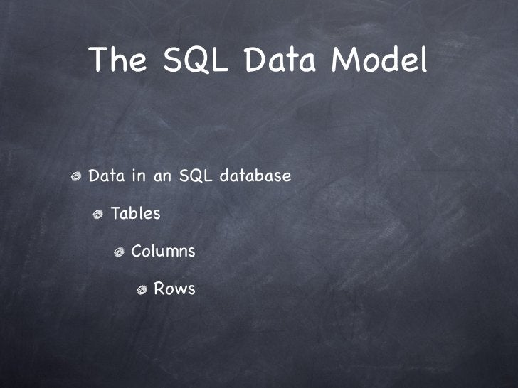 The SQL Data ModelData in an SQL database  Tables    Columns       Rows