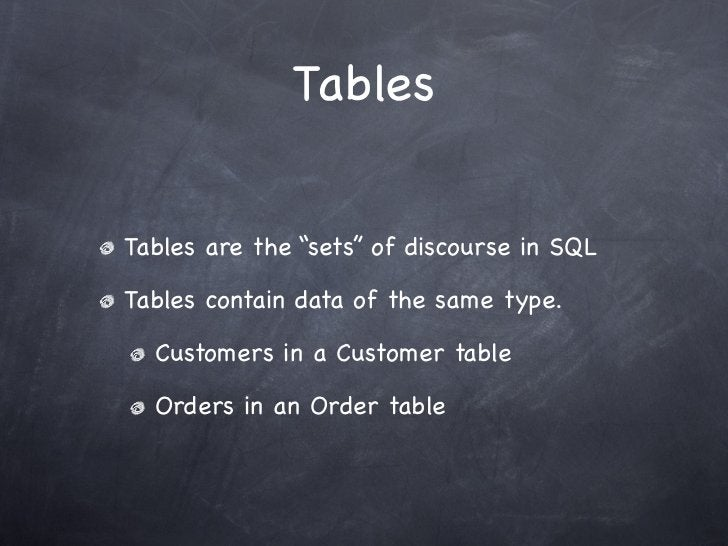 """TablesTables are the """"sets"""" of discourse in SQLTables contain data of the same type.  Customers in a Customer table  Order..."""