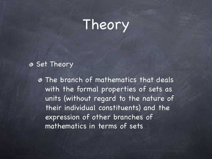 TheorySet Theory  The branch of mathematics that deals  with the formal properties of sets as  units (without regard to th...