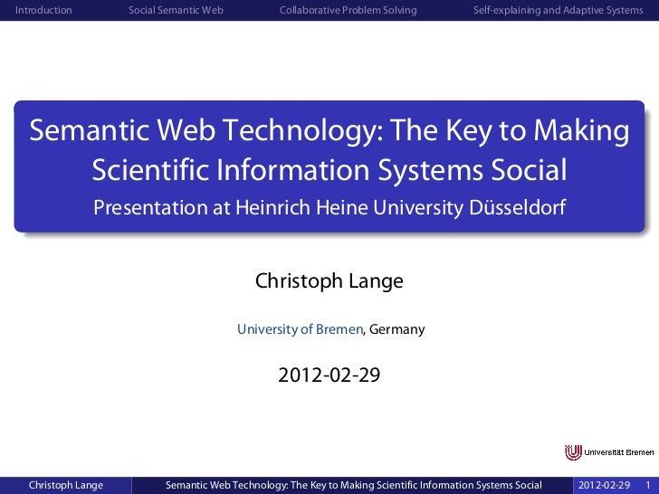 Introduction        Social Semantic Web            Collaborative Problem Solving            Self-explaining and Adaptive S...