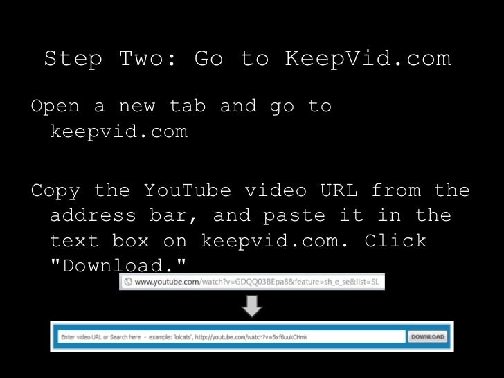 Step Two: Go to KeepVid.comOpen a new tab and go to  keepvid.comCopy the YouTube video URL from the  address bar, and past...