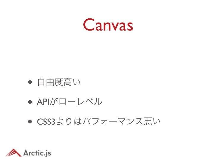 Canvasを利用• スマートフォン向けにハイパフォーマン スかつ複雑なものを実装するには Canvasを用いるのが良い