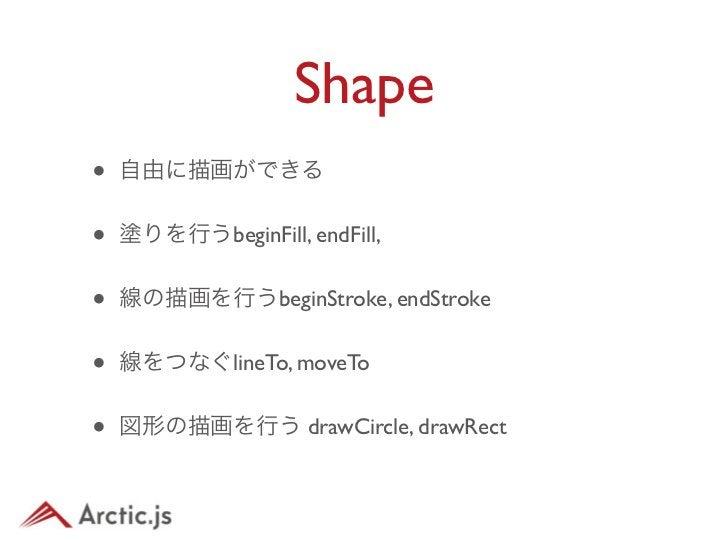 Shape•   例var shape = new arc.display.Shape();shape.beginStroke(10, 0x00ffff);shape.beginFill(0xff0000);shape.drawCircle(2...
