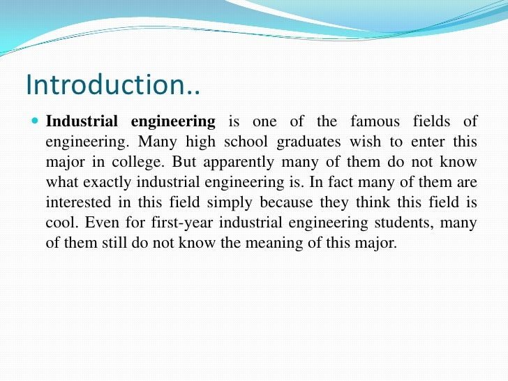 fundamentals of industrial engineering research papers