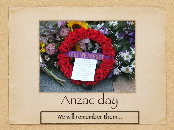 Anzac dayWe will remember them...