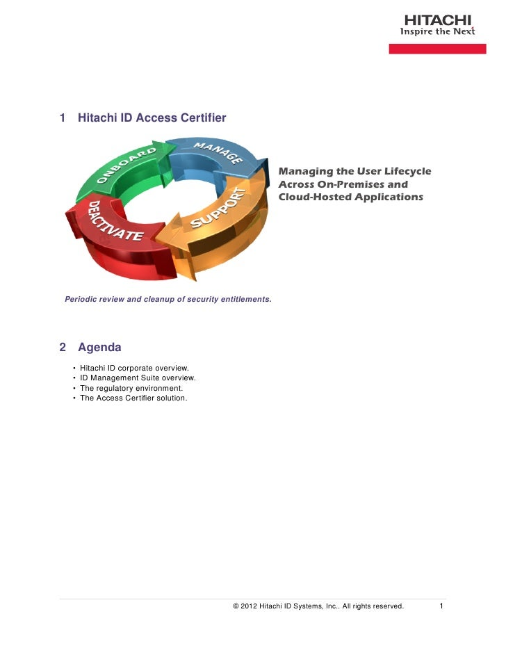 1 Hitachi ID Access Certifier                                                         Managing the User Lifecycle          ...