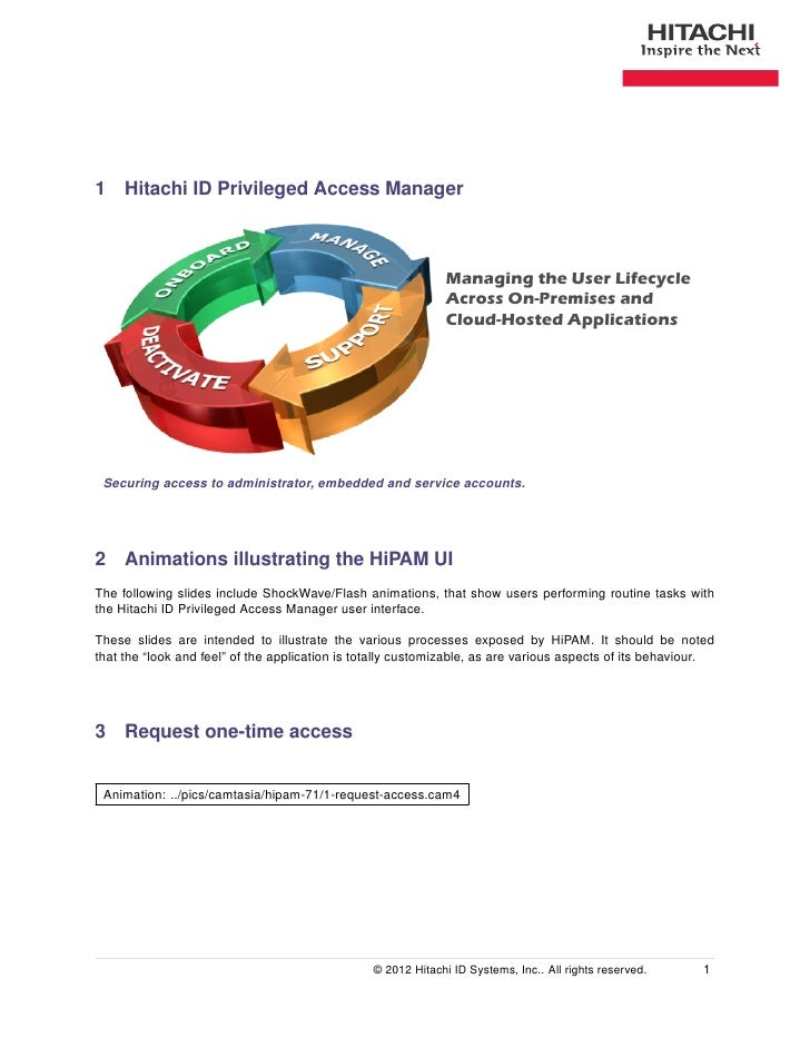 1 Hitachi ID Privileged Access Manager                                                              Managing the User Life...