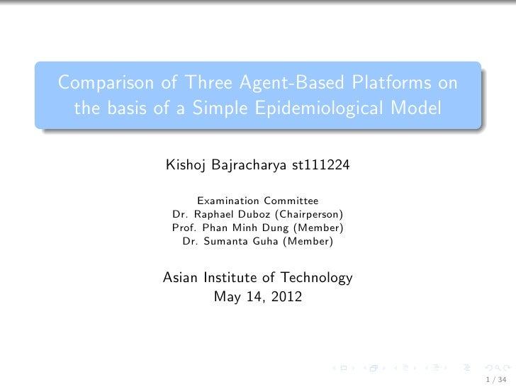 Comparison of Three Agent-Based Platforms on the basis of a Simple Epidemiological Model           Kishoj Bajracharya st11...