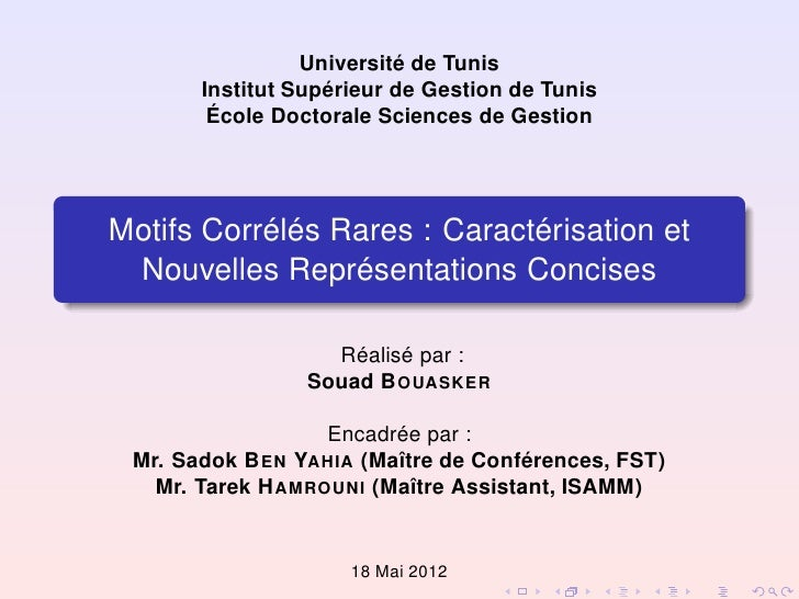 Université de Tunis       Institut Supérieur de Gestion de Tunis        École Doctorale Sciences de GestionMotifs Corrélés...