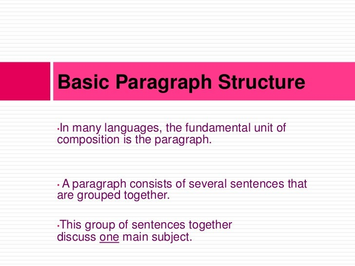Basic Paragraph StructureIn many languages, the fundamental unit of•composition is the paragraph.•A paragraph consists of ...