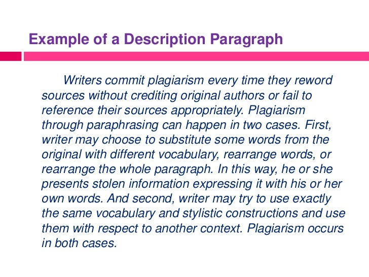 example of paragraph by description Essays - largest database of quality sample essays and research papers on 5 paragraph descriptive essay.