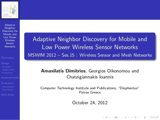 Adaptive  NeighborDiscovery for Mobile and Low Power  Wireless   Sensor                   Adaptive Neighbor Discovery for ...