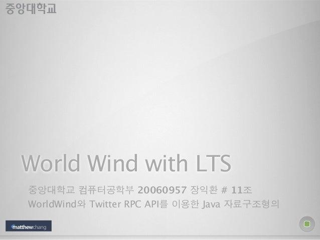 World Wind with LTS중앙대학교 컴퓨터공학부 20060957 장익환 # 11조WorldWind와 Twitter RPC API를 이용한 Java 자료구조형의