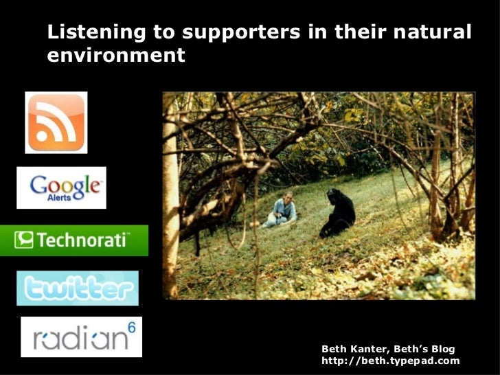 Listening to supporters in their natural environment Beth Kanter, Beth's Blog http://beth.typepad.com