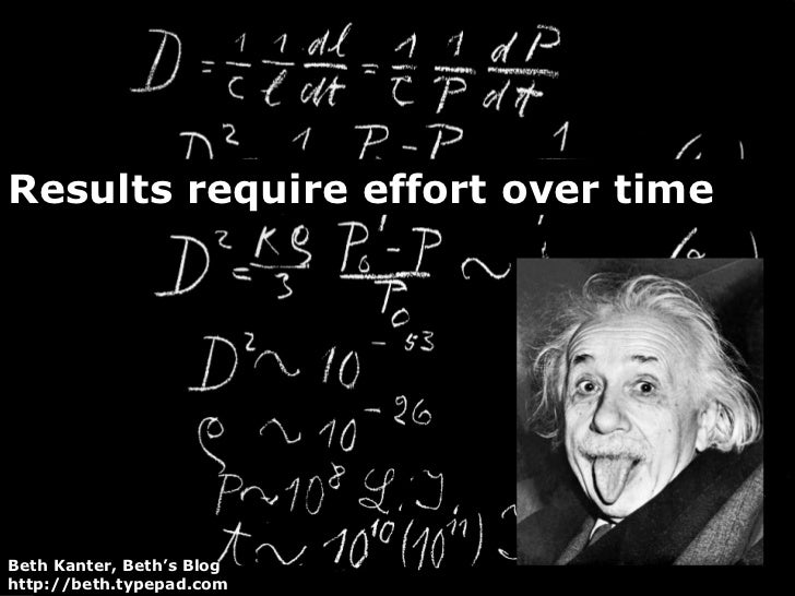 Results require effort over time Beth Kanter, Beth's Blog http://beth.typepad.com