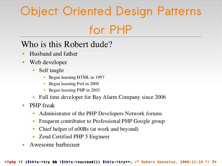 Object Oriented Design Patterns for PHP Slide 3