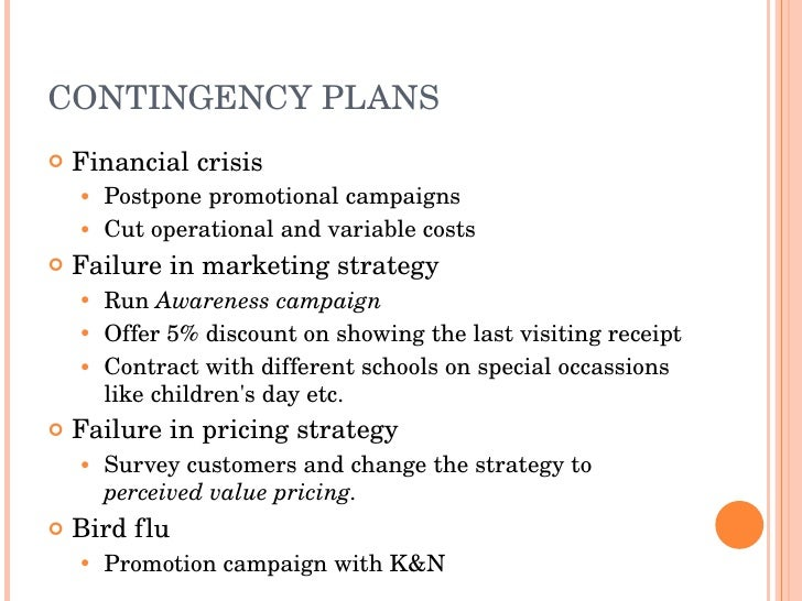 Business Plan of a Kids Restaurant in Pakistan named KIDZERIA – Contingency Plan Examples