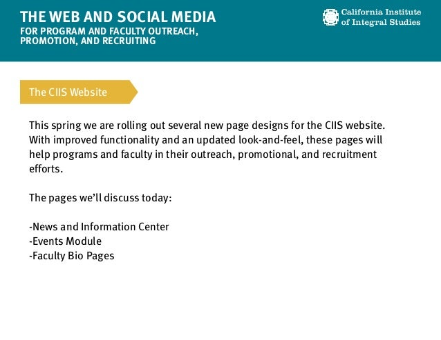 The Web and Social Media for Program/Faculty Outreach Slide 2
