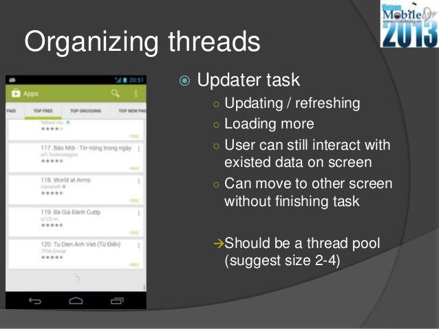 Organizing threads Updater task○ Updating / refreshing○ Loading more○ User can still interact withexisted data on screen○...