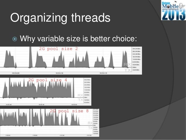 Organizing threads Why variable size is better choice:2G pool size 22G pool size 42G pool size 8