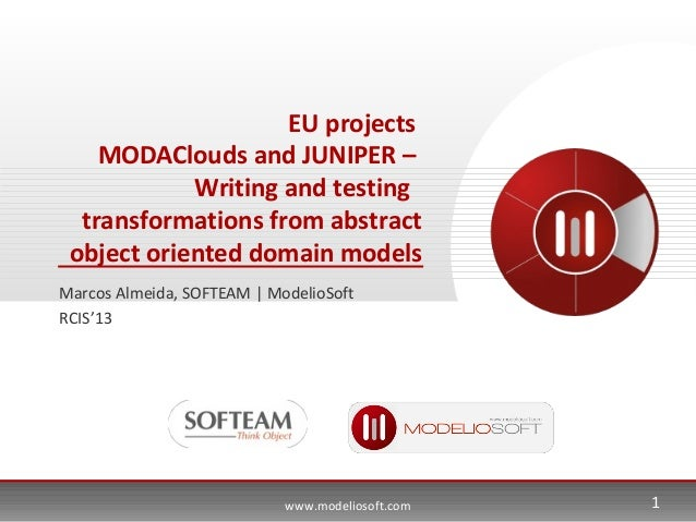 www.modeliosoft.comEU projectsMODAClouds and JUNIPER –Writing and testingtransformations from abstractobject oriented doma...