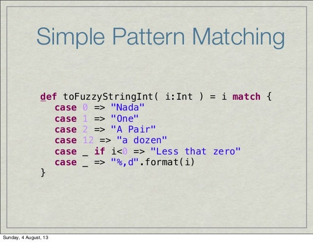 Simple Pattern Matching def toFuzzyStringInt Classy Pattern Def