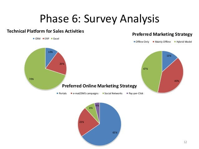 Phase 6: Survey Analysis 12 10% 20% 70% Technical Platform for Sales Activities CRM ERP Excel 13% 40% 47% Preferred Market...