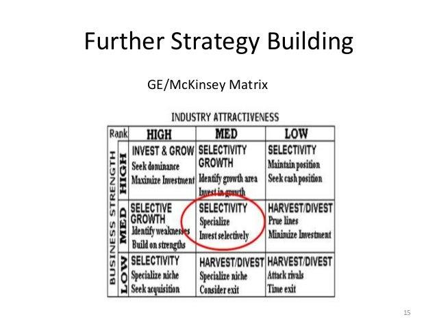 Further Strategy Building 15 GE/McKinsey Matrix