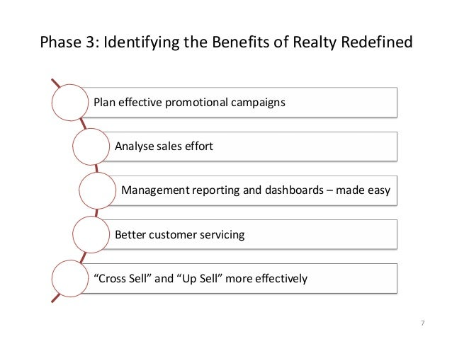 Phase 3: Identifying the Benefits of Realty Redefined 7 Plan effective promotional campaigns Analyse sales effort Manageme...