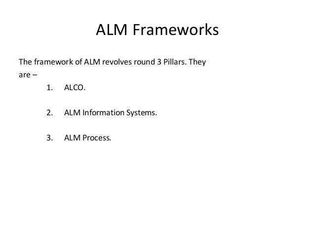 ALM Frameworks The framework of ALM revolves round 3 Pillars. They are – 1. ALCO. 2. ALM Information Systems. 3. ALM Proce...